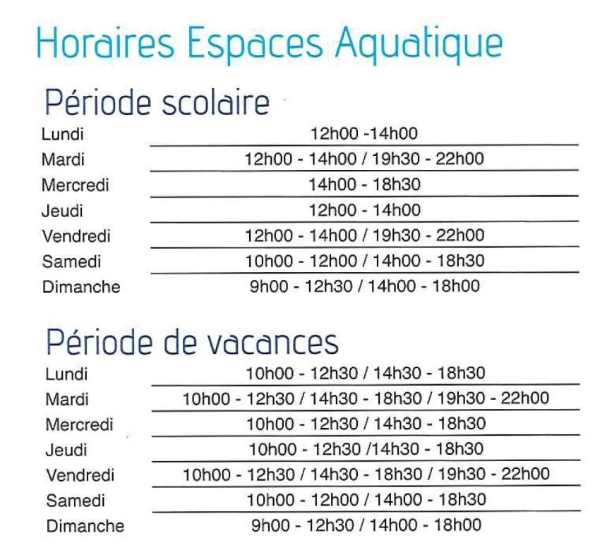 horaires piscine neptilude